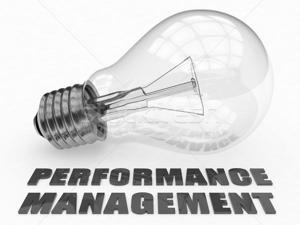 Performans yönetim ampul beyaz metin 3d render Stok fotoğraf © Mazirama