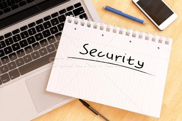 Stockfoto: Veiligheid · tekst · notebook · bureau · 3d · render