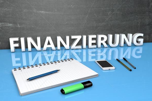 Testo parola finanziamento lavagna notebook penne Foto d'archivio © Mazirama
