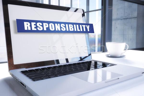 Odpowiedzialność tekst nowoczesne laptop ekranu biuro Zdjęcia stock © Mazirama