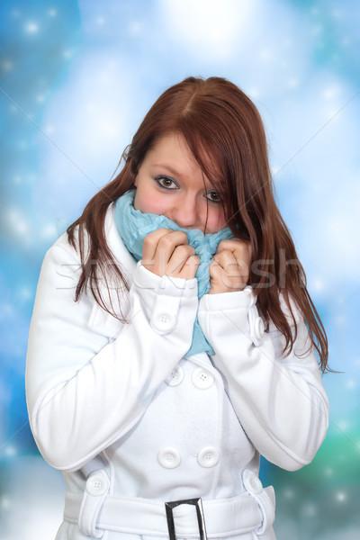Retrato invierno mujer azul Foto stock © Mazirama