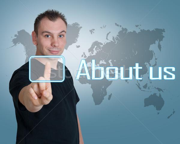 Foto stock: Sobre · nós · moço · imprensa · digital · botão · interface