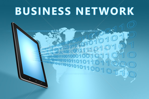 Бизнес-сеть иллюстрация синий бизнеса работу Сток-фото © Mazirama