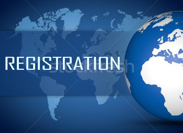 Regisztráció földgömb kék világtérkép üzlet terv Stock fotó © Mazirama