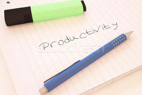 Produktiviteit tekst notebook bureau 3d render Stockfoto © Mazirama