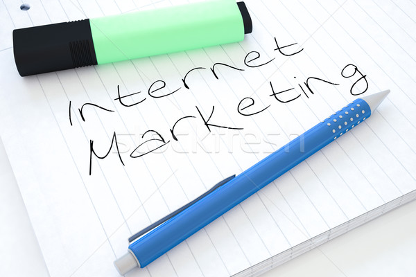 Marketing internetowy tekst notebooka biurko 3d Zdjęcia stock © Mazirama