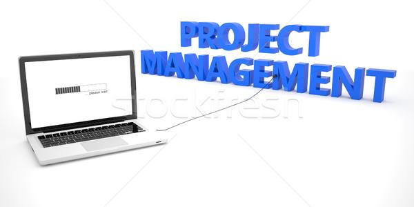 Projektu zarządzania laptop notebooka komputera słowo Zdjęcia stock © Mazirama