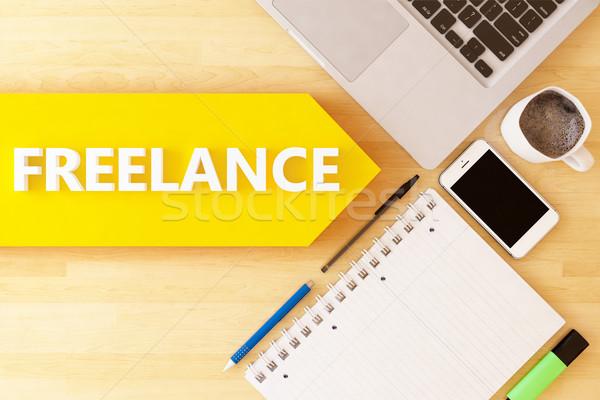 Freelance linear texto seta caderno Foto stock © Mazirama