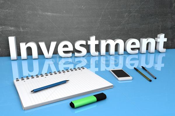 Foto stock: Inversión · texto · pizarra · cuaderno · plumas · teléfono · móvil