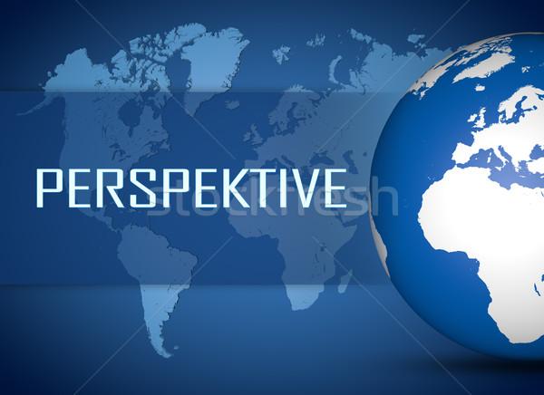 Woord perspectief wereldbol Blauw wereldkaart teken Stockfoto © Mazirama