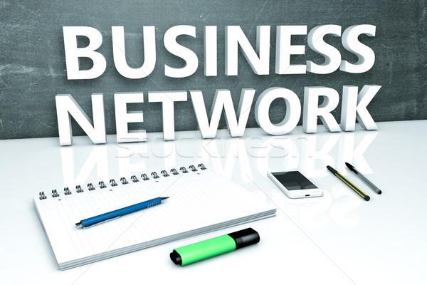 Zdjęcia stock: Business · network · tekst · Tablica · notebooka · długopisy · telefonu · komórkowego