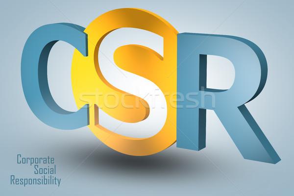 Corporate sozialen Verantwortung Abkürzung 3d render Illustration Stock foto © Mazirama