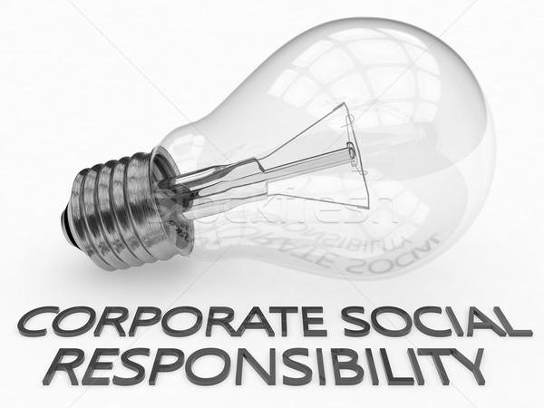 Vállalati társasági felelősség villanykörte fehér szöveg Stock fotó © Mazirama
