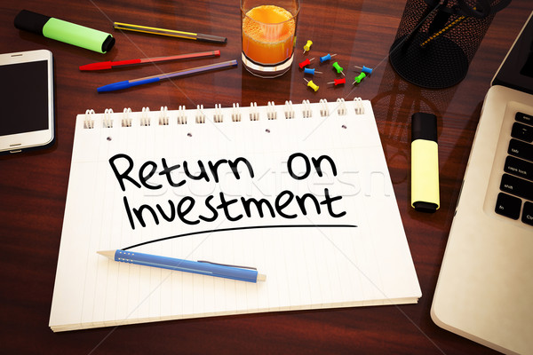Terugkeren investering tekst notebook bureau Stockfoto © Mazirama
