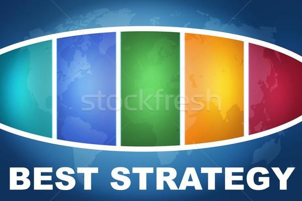 Legjobb stratégia szöveg illusztráció kék színes Stock fotó © Mazirama