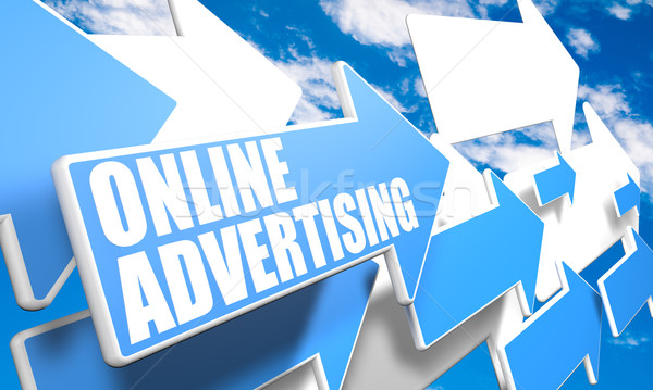 On-line publicidade 3d render azul branco Foto stock © Mazirama