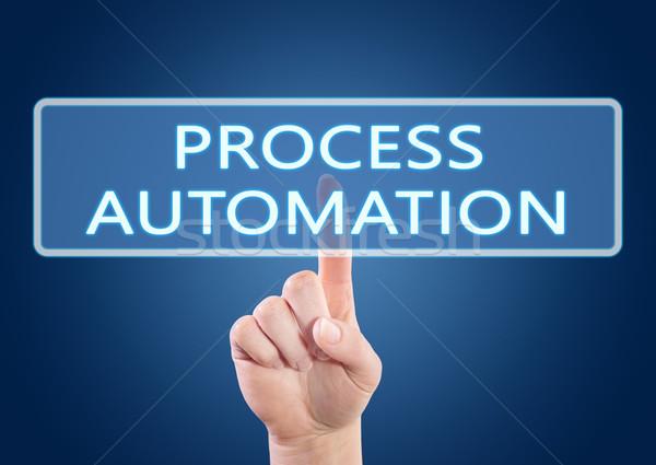 Folyamat automatizálás kéz kisajtolás gomb interfész Stock fotó © Mazirama