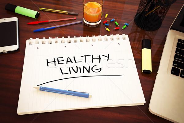 Sağlıklı yaşam metin defter büro 3d render Stok fotoğraf © Mazirama