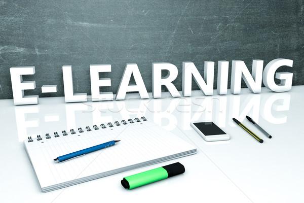 Online oktatás szöveg tábla notebook tollak mobiltelefon Stock fotó © Mazirama