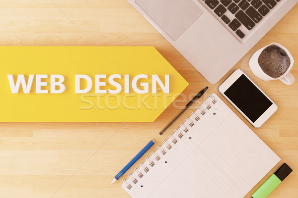 Web design lineáris szöveg nyíl notebook okostelefon Stock fotó © Mazirama