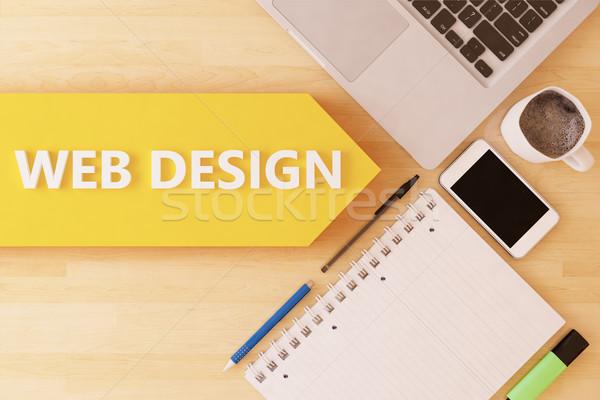 веб-дизайна линейный текста стрелка ноутбук смартфон Сток-фото © Mazirama