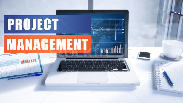 Foto stock: Projeto · gestão · texto · moderno · laptop · tela