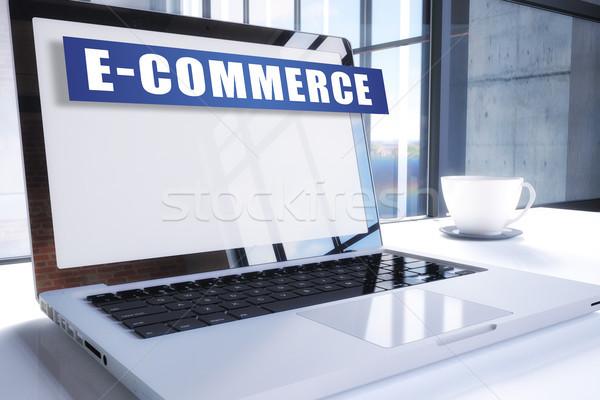 Ecommerce testo moderno laptop schermo ufficio Foto d'archivio © Mazirama