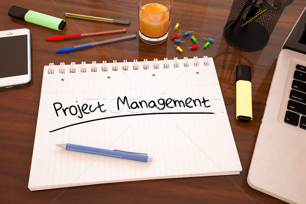 Projekt vezetőség kézzel írott szöveg notebook asztal Stock fotó © Mazirama