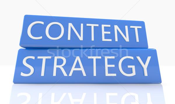 Conteúdo estratégia 3d render azul caixa texto Foto stock © Mazirama