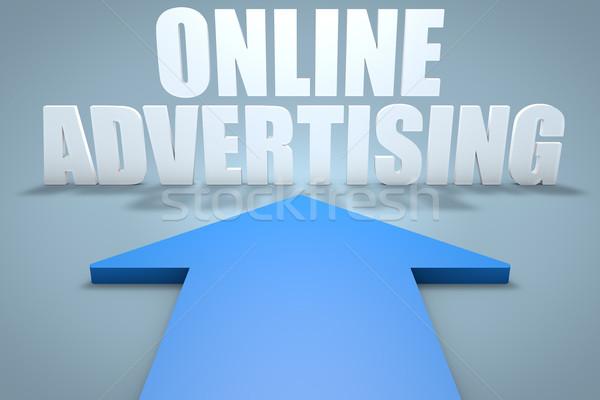 Online Werbung 3d Render Blau Arrow Hinweis