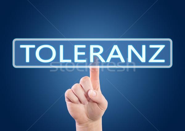 Szó tolerancia kéz kisajtolás gomb interfész Stock fotó © Mazirama