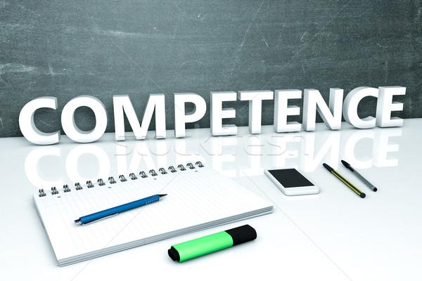 Competência texto quadro-negro caderno canetas telefone móvel Foto stock © Mazirama