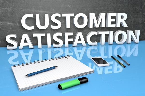 Satisfação do cliente texto quadro-negro caderno canetas telefone móvel Foto stock © Mazirama