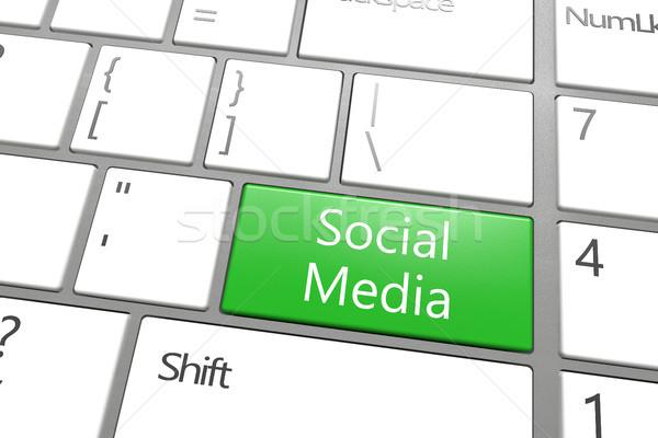 Közösségi média kulcs zöld fehér internet billentyűzet Stock fotó © Mazirama