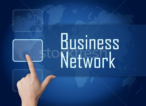Business network interfejs mapie świata niebieski Internetu technologii Zdjęcia stock © Mazirama