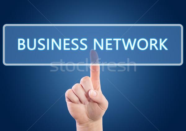 Бизнес-сеть стороны кнопки интерфейс синий Сток-фото © Mazirama