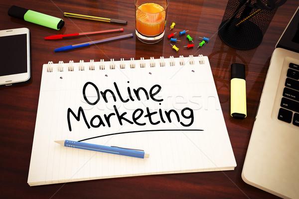 Online marketing tekst notebook bureau 3d render Stockfoto © Mazirama