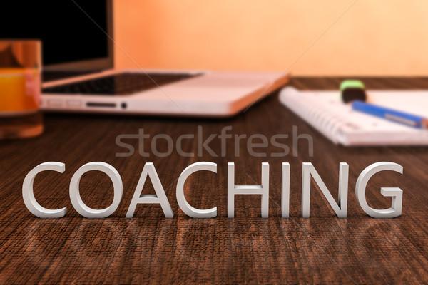コーチング 文字 木製 デスク ラップトップコンピュータ ノートブック ストックフォト © Mazirama