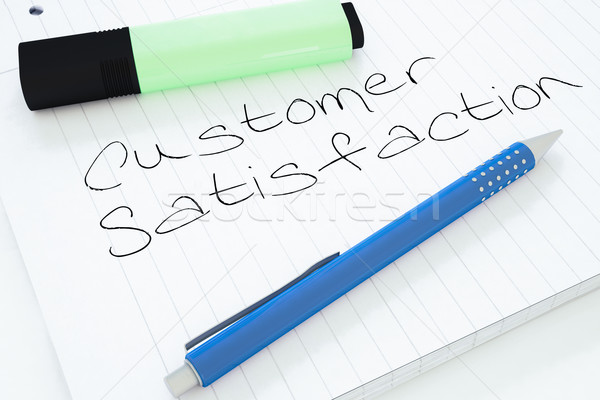 Satisfação do cliente texto caderno secretária 3d render Foto stock © Mazirama