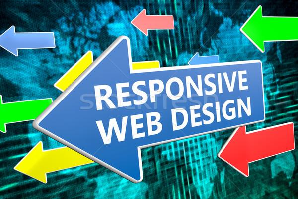 Sympathiek web design tekst Blauw pijl vliegen Stockfoto © Mazirama