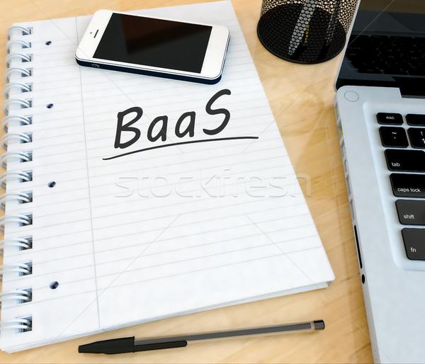 Biztonsági mentés szolgáltatás kézzel írott szöveg notebook asztal Stock fotó © Mazirama