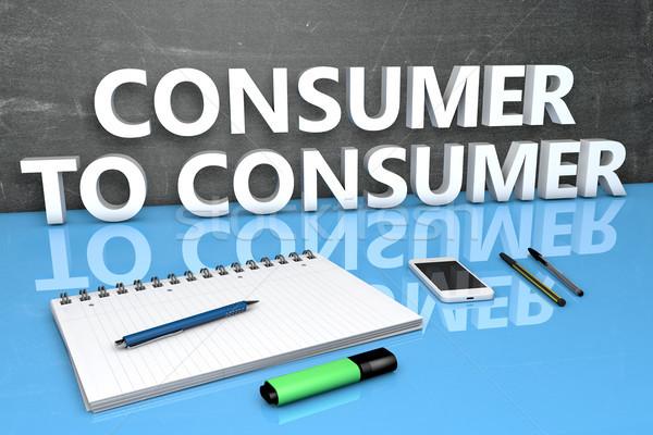 Consumidor texto quadro-negro caderno canetas telefone móvel Foto stock © Mazirama