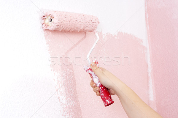 Festmény fal rózsaszín kéz terv festék Stock fotó © Mazirama