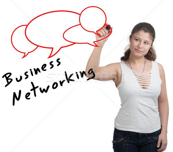 Business network kobieta interesu piśmie sieci kobieta Zdjęcia stock © Mazirama