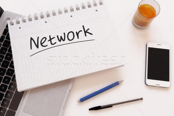 Stock fotó: Hálózat · kézzel · írott · szöveg · notebook · asztal · 3d · render