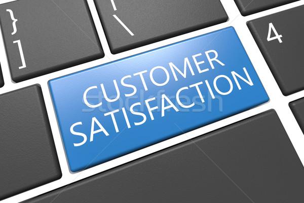 Satisfacción del cliente teclado 3d ilustración palabra azul Foto stock © Mazirama