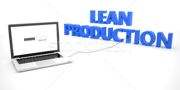Production portable portable ordinateur mot blanche Photo stock © Mazirama
