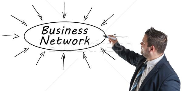 Zdjęcia stock: Business · network · młodych · biznesmen · rysunek · informacji
