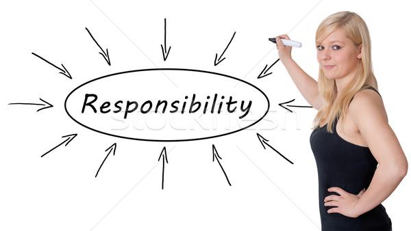 Responsabilité jeunes femme d'affaires dessin informations Photo stock © Mazirama