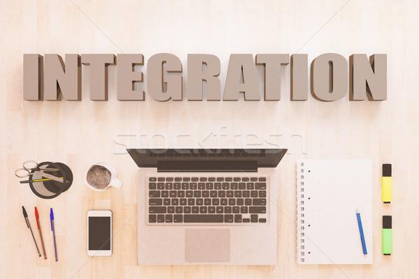 Stockfoto: Integratie · tekst · notebook · computer · smartphone · pennen
